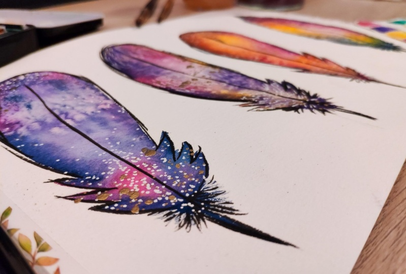 Fun watercolor feathers