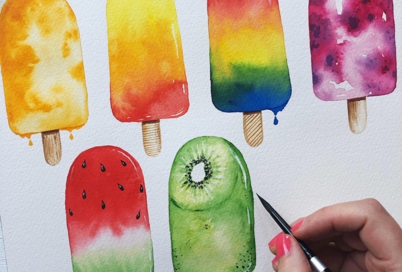 Fun Watercolour Techniques: Ice Lollies