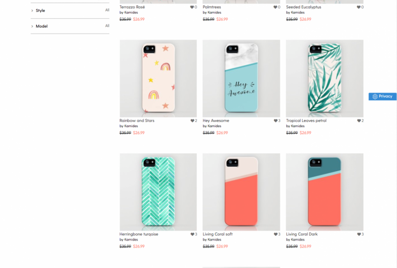 Products on Society6 and Redbubble