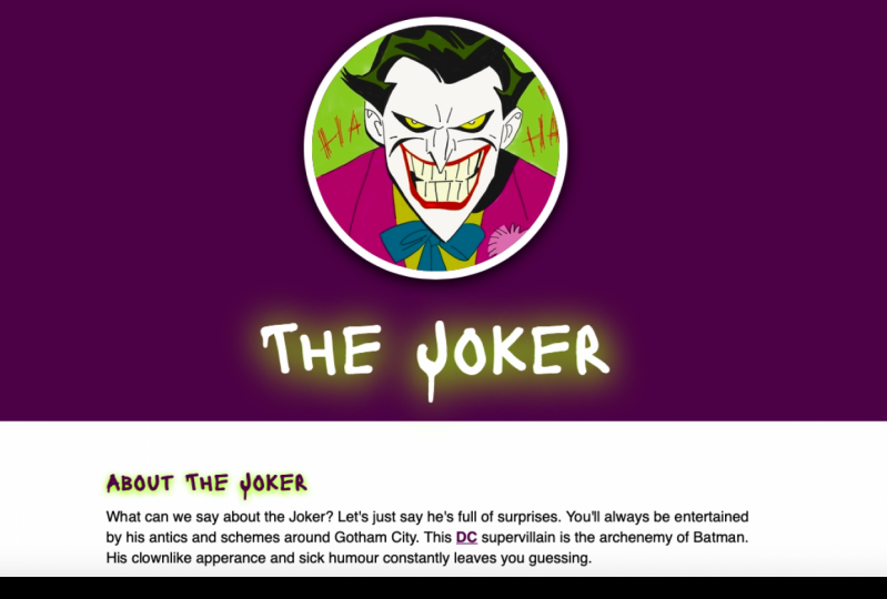 All About the Joker! - First Hand-coded Website