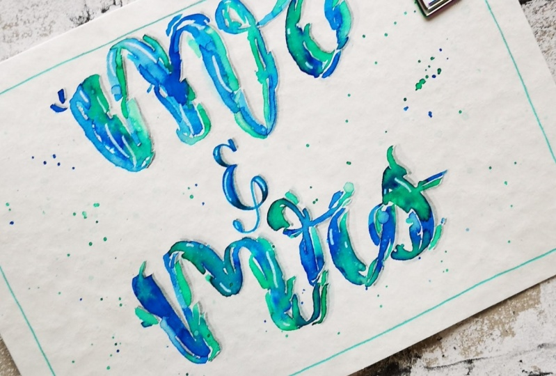 Wave letters  a wedding card