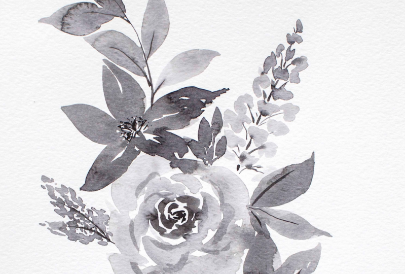 Floral Composition in Ink