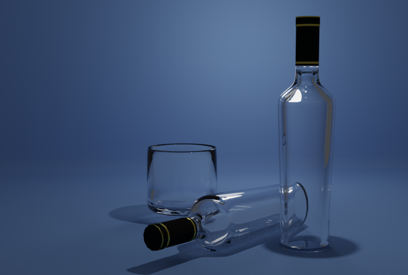 Vodka bottles with glass and vase
