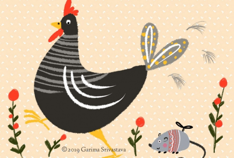 Digital Illustration: Rooster scared by a wind-up mouse