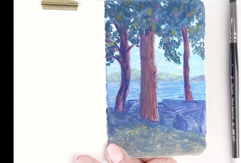 sketchbook landscape in gouache
