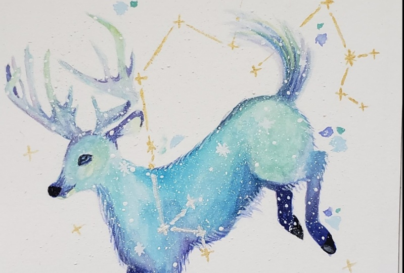 Galaxy with Watercolor and Gouache