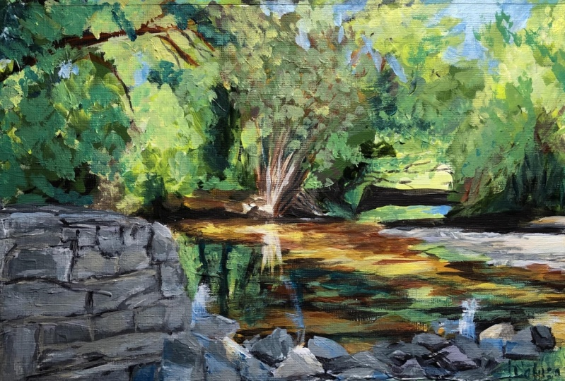 River Morning Light acrylic painting