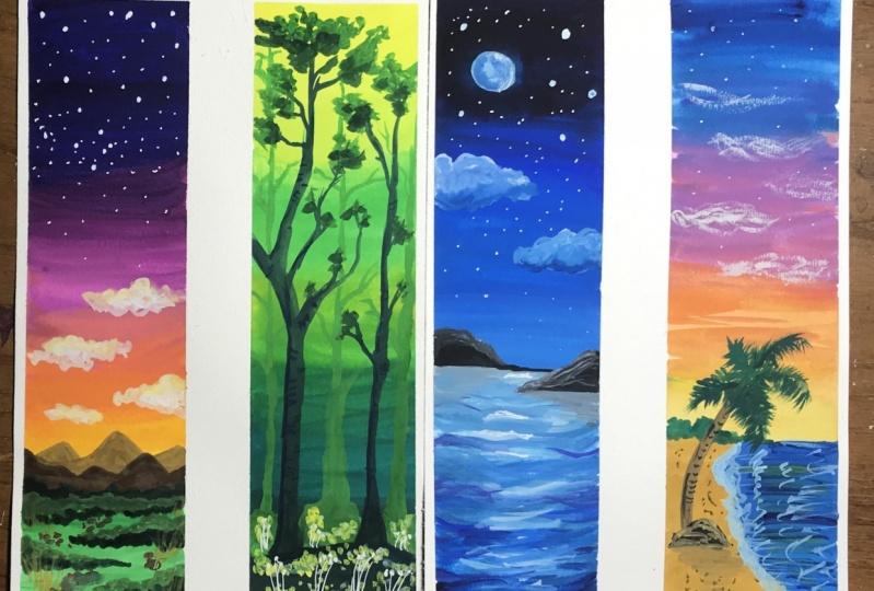 Four Sunset Landscapes in Gouache