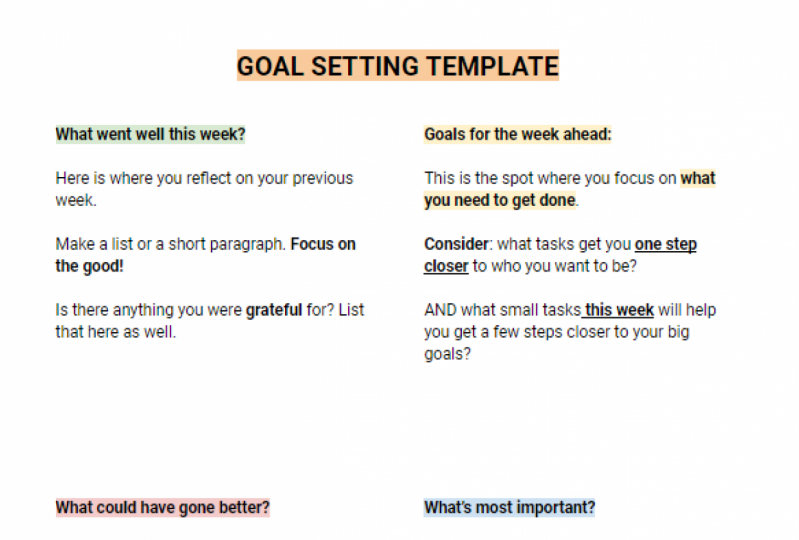 Goal Setting Template + Guide!