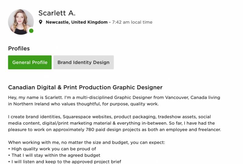 Upwork Profile — Scarlett Aubrey