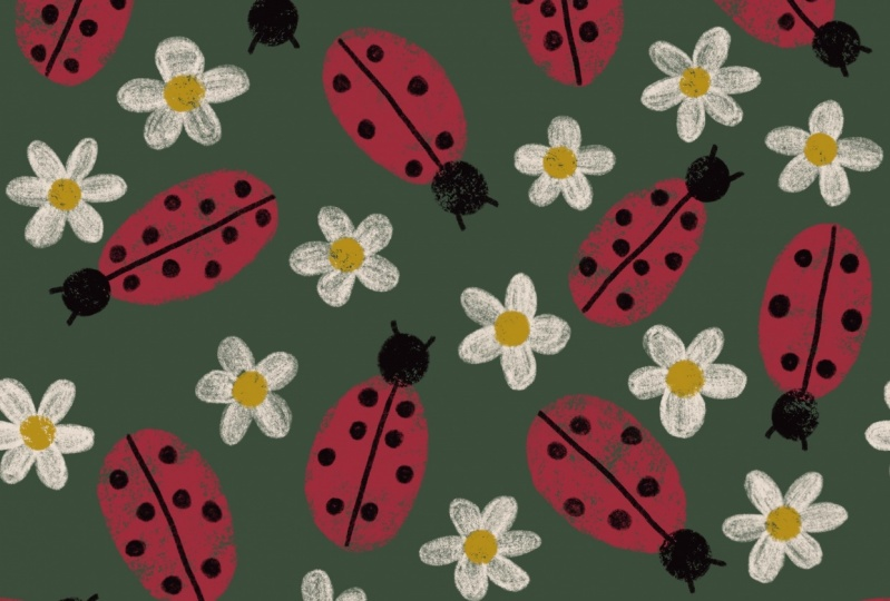 Ladybird and daisy repeat pattern