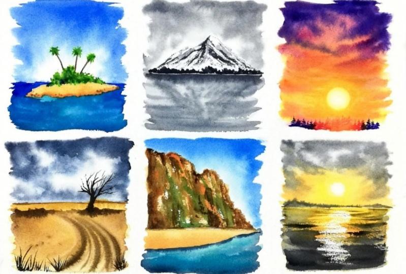 6 mini watercolor landscapes