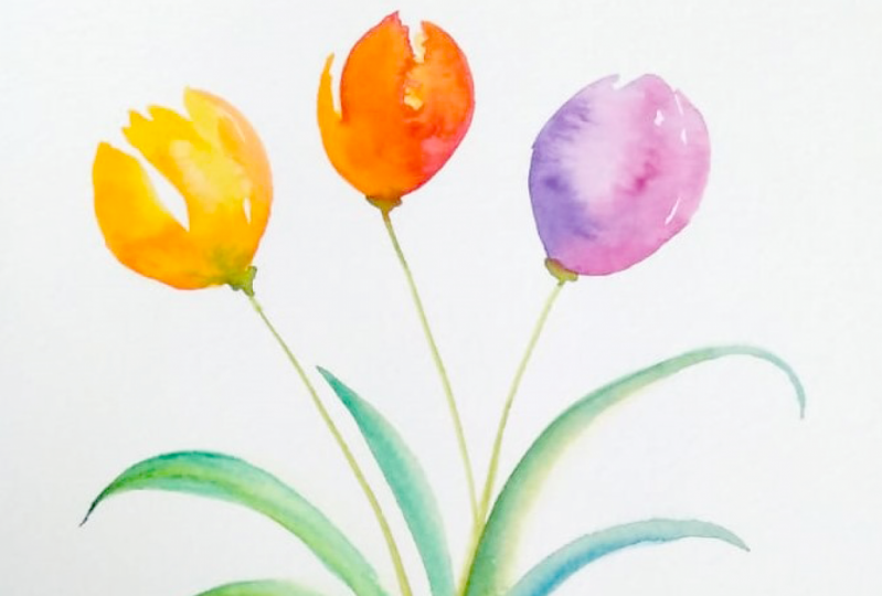 Tulips, cherries and leaves
