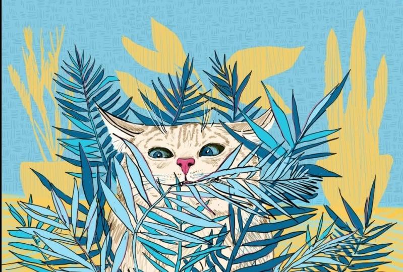 Cat eating... - 8 artworks series