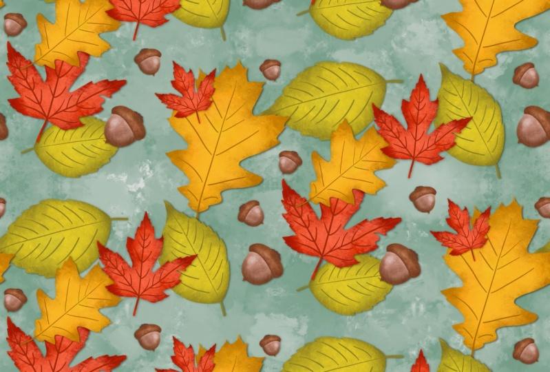 Autumn Leaves Half-Drop Repeat