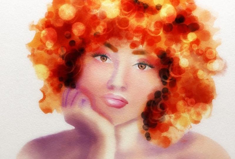 Watercolor portrait in Procreate