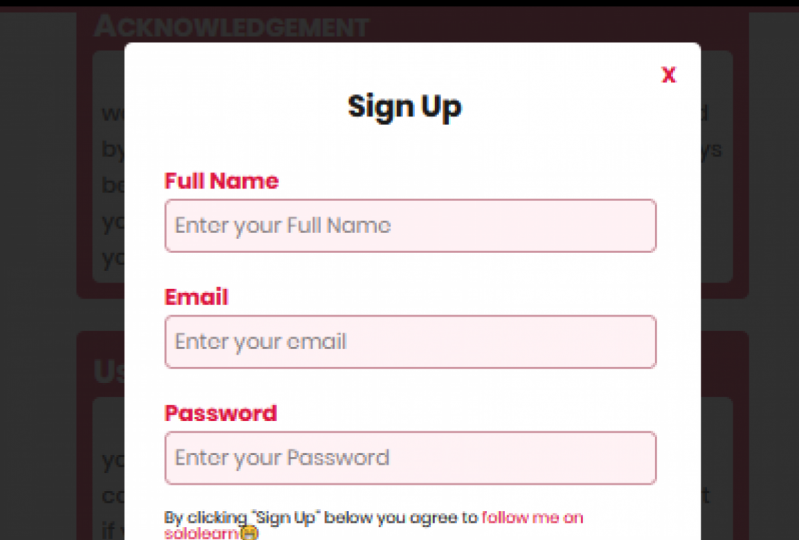 A sign up modal