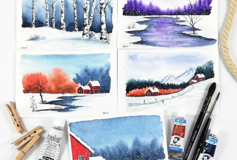 5 watercolor winter landscapes