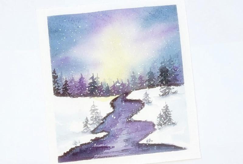 Winter landscape in watercolor