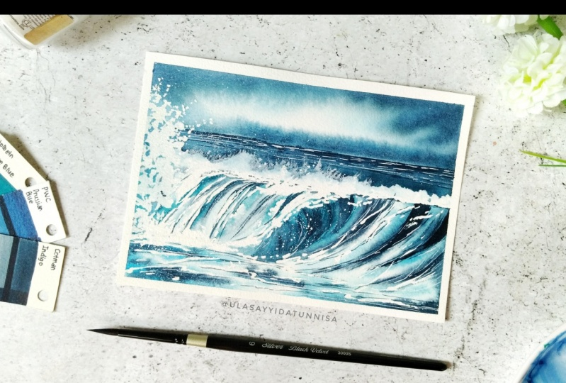 Final projects of watercolor ocean waves by Dhritikana
