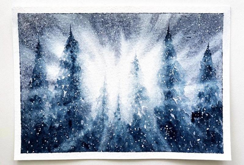 Watercolor Snowy Backlit Pines