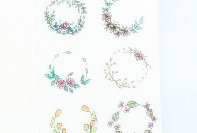 Doodled wreaths