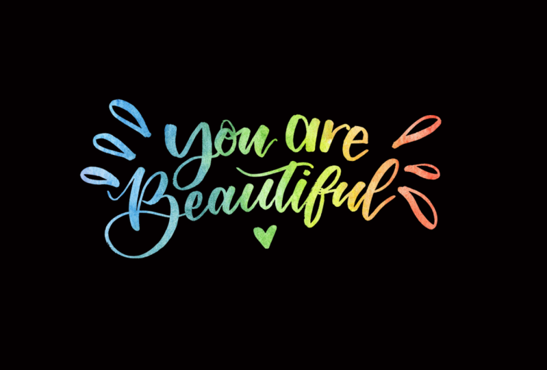 Brush Lettering with Rainbow Background
