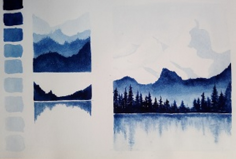Monochrome paintings with Watercolor - Learn to paint using a single color
