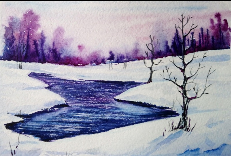 Delicate Winter Landscapes with Watercolor