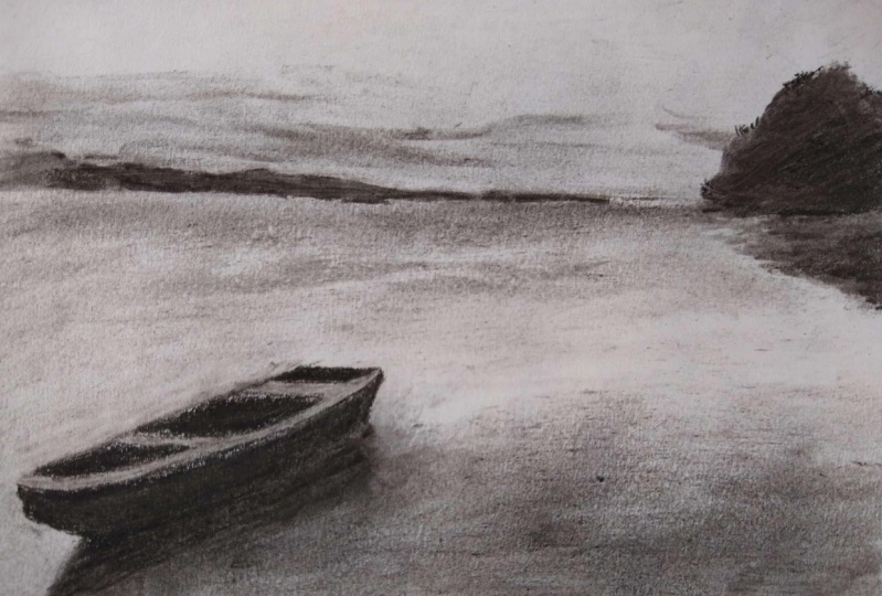 Charcoal drawing - boat