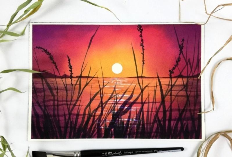 Magical watercolor sunset