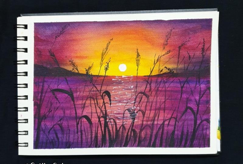Watercolor Sunset Landscapes