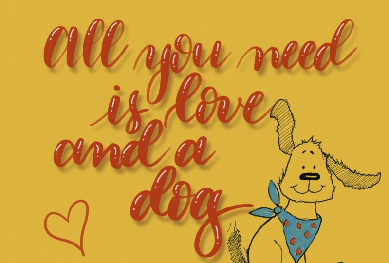 All you need is love and a dog lettering