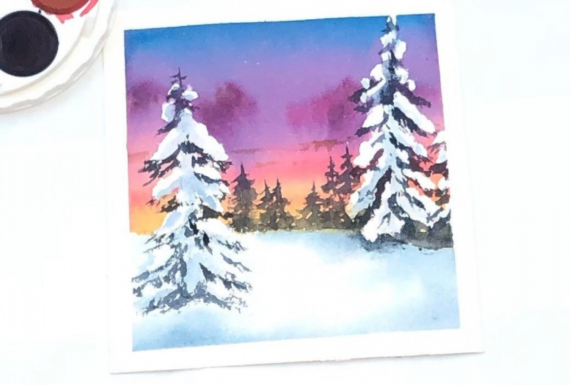 Winter pines in watercolor