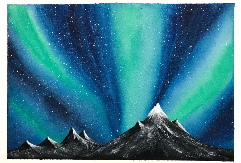 Aurora, watercolor + gouache, 5x7.
