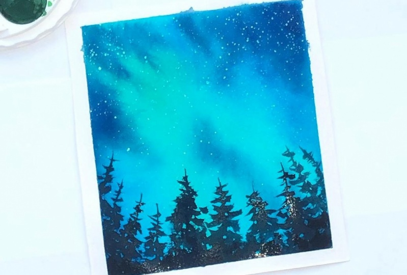 Northern lights in watercolor