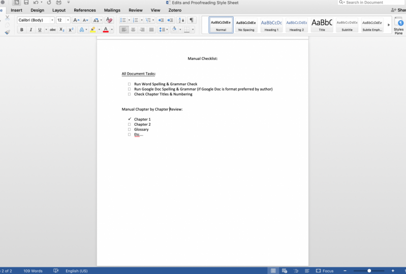 Style Sheet & Checklist