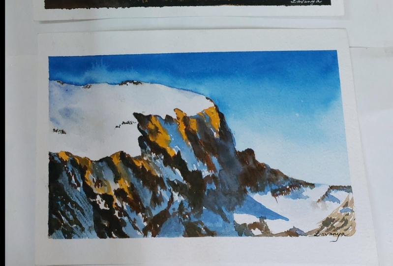 3 Mountains in Watercolor