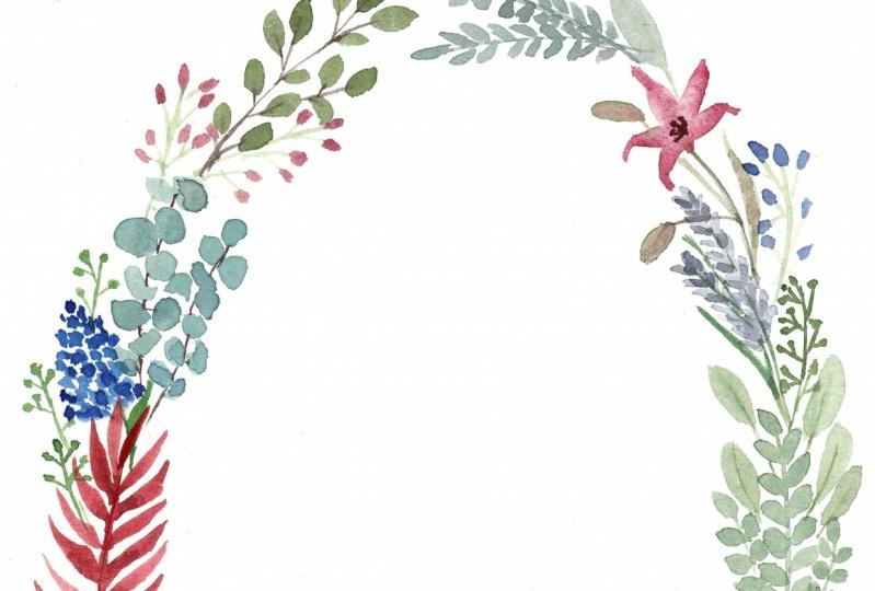 Wreath for a wedding invitation