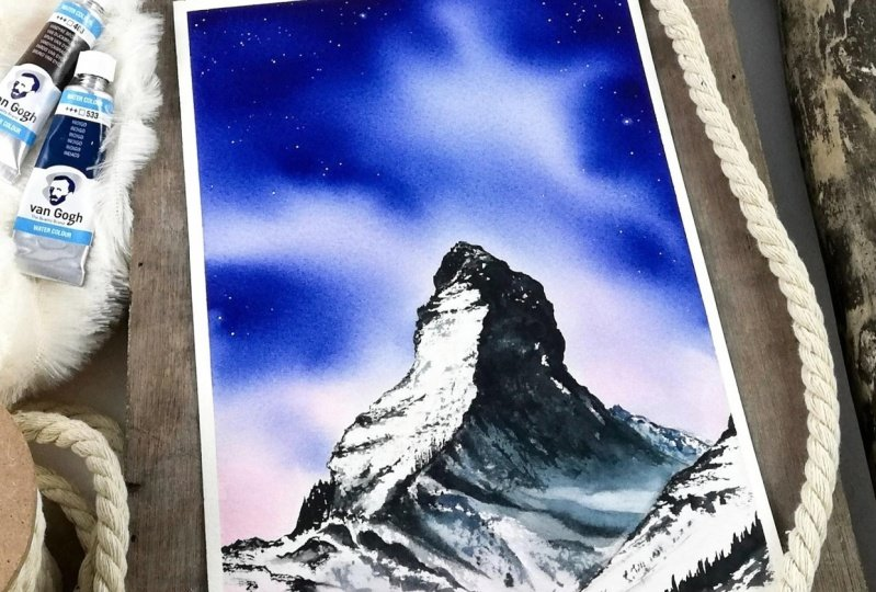 Majestic watercolor mountains