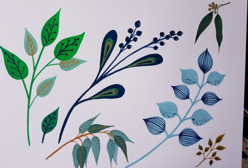 Colourful leaves In gouache