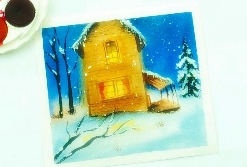 Winter barn watercolor landscape