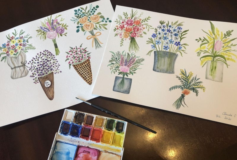 10 Different Mini-Bouquets with Watercolor!