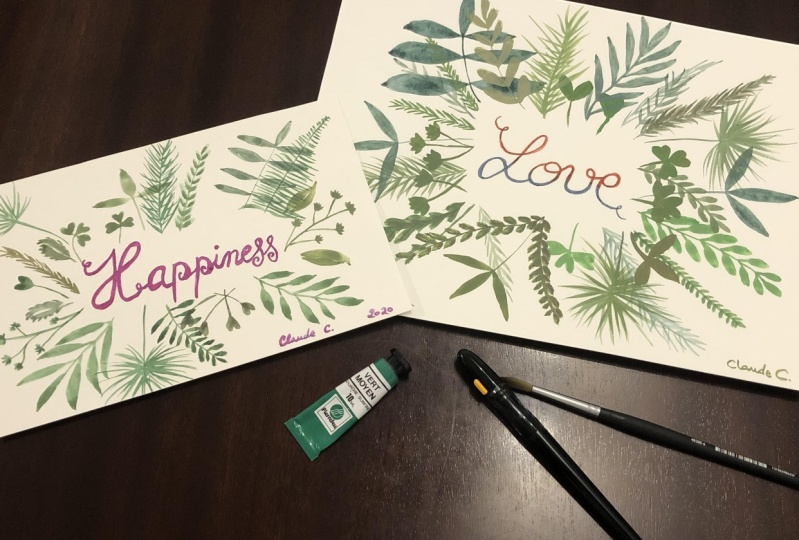 Watercolor Leaves and Sweet Messages