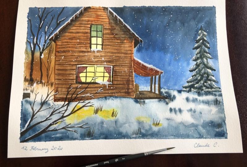 Scenic winter barn landscape