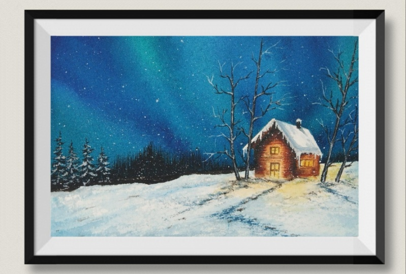 happy painting of the snowy northern light landscape