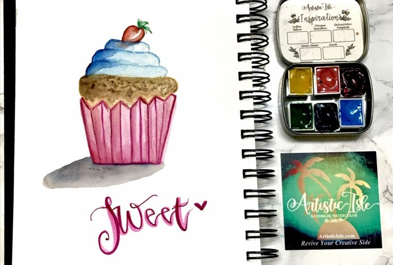 Sweet cupcake with naphthal red