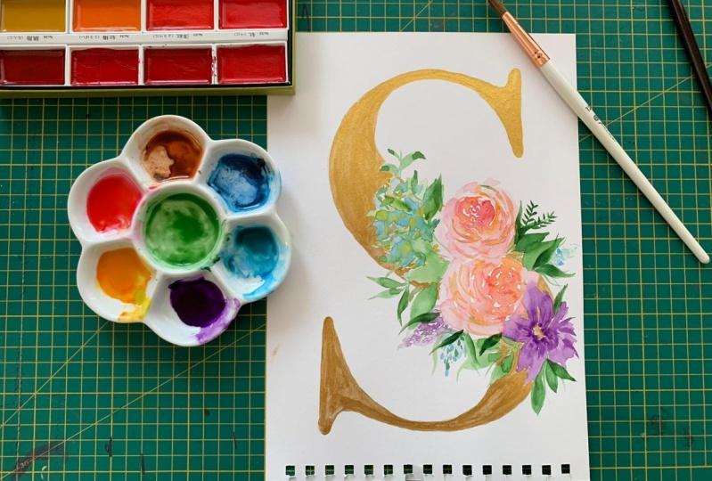 Metallic Letter- Lush Floral
