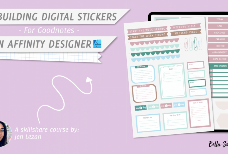 Designing Digital Stickers in Affinity Designer by Jen Lezan