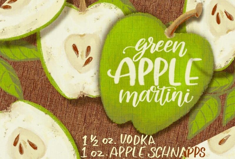 Recipe Illustration. Green Apple Martini